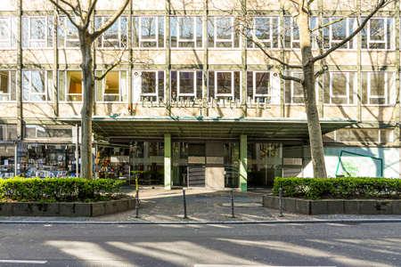 Coronavirus lockdown. Frankfurt, Germany. April 5, 2020. Closed entrance of buildings with shops during pandemic lockdown. Editorial