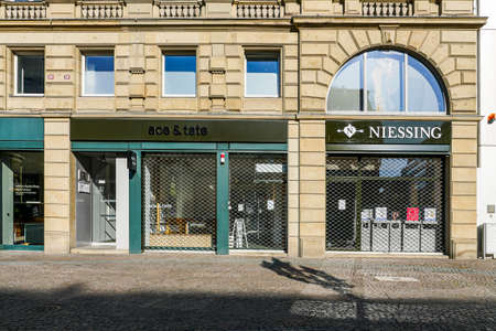 Coronavirus lockdown. Frankfurt, Germany. April 5, 2020. Barred up stores in Kaiserplatz during covid-19 pandemic lockdown. Redactioneel