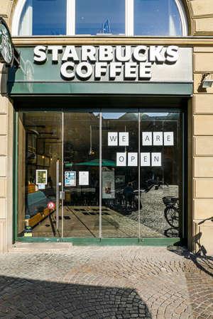Coronavirus lockdown. Frankfurt, Germany. April 5, 2020. Open coffee shop franchise store during covid-19 lockdown.