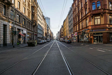 Coronavirus lockdown. Frankfurt, Germany. April 5, 2020. Empty street in Bahnhofsviertel red light district during covid-19 crisis.