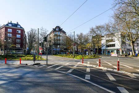 Coronavirus lockdown. Frankfurt, Germany. April 5, 2020. Empty Schweizer Platz streets during covid-19 quarantine.