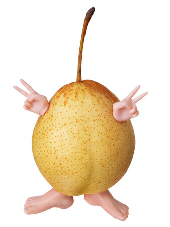 gestural: Funny yellow pear isolate on white background