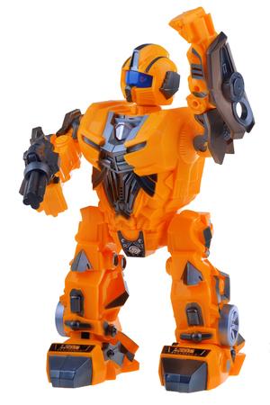 Futuristic orange robot isolated on white background