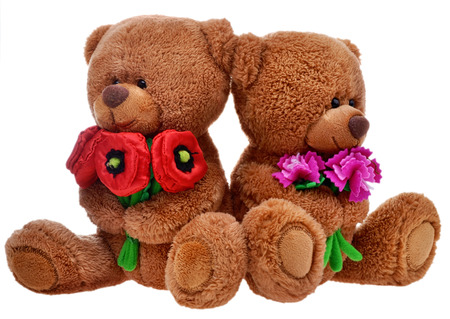 toy teddy bears with flowers 스톡 콘텐츠