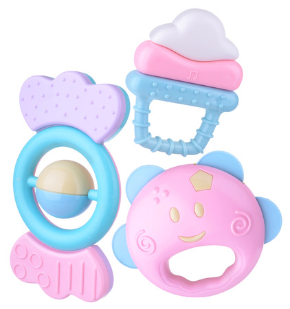 Colorful baby rattle set 스톡 콘텐츠