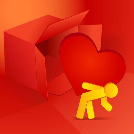 carrying box: Ilustraci�n del vector del d�a de San Valent�n con el rect�ngulo rojo y hombre con coraz�n
