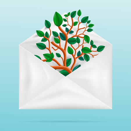 Eco concept. Green tree in paper envelope. Vector
