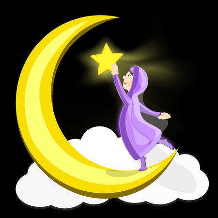 Jeune fille musulmane sur le croissant de lune avec une étoile dans sa main. Illustration