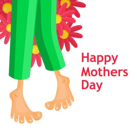 pyjamas: Mothers Day card with boy in pyjamas. Illustration