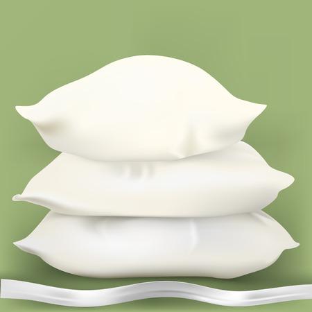 pijamada: Tres almohadas blancos con la cinta. Ilustraci�n
