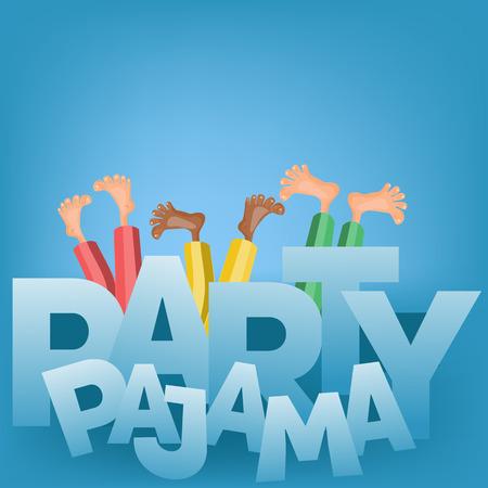 Illustration of boys having pajama slumber party. Vector card 일러스트