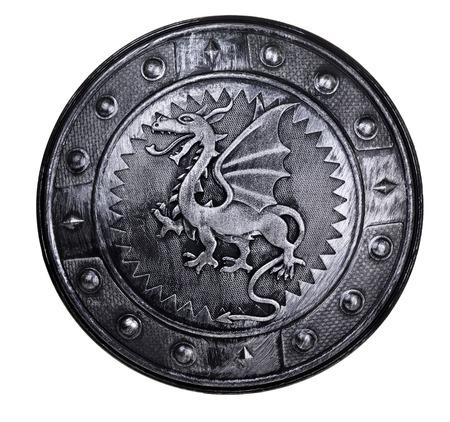dragones: Escudo redondo con signo drag�n aislado en el fondo blanco