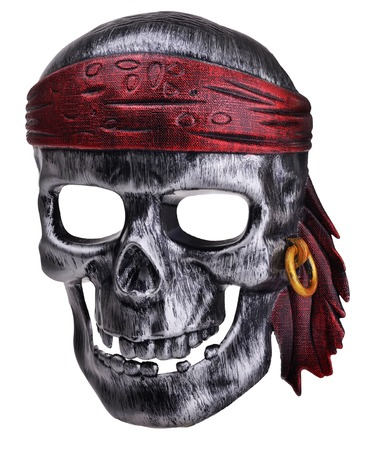 Pirate human skull mask isolated on white photo