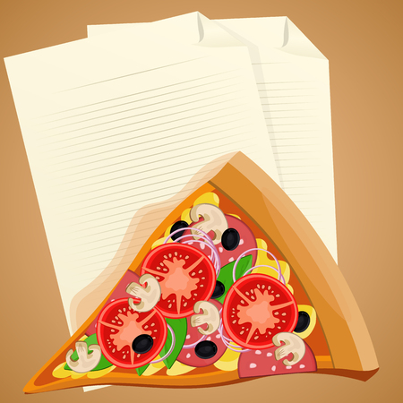 lunch break: Pizza slice with check list. Lunch break concept Illustration