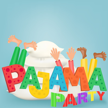 pyjama: Illustration of boys with pillows having pajama slumber party Illustration
