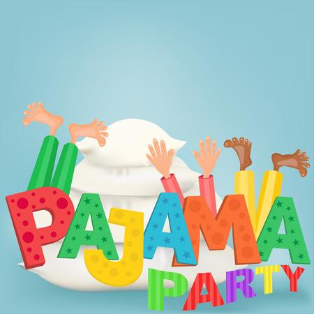 pijamada: Ilustración de los niños con las almohadillas que tienen fiesta de pijamas pijama