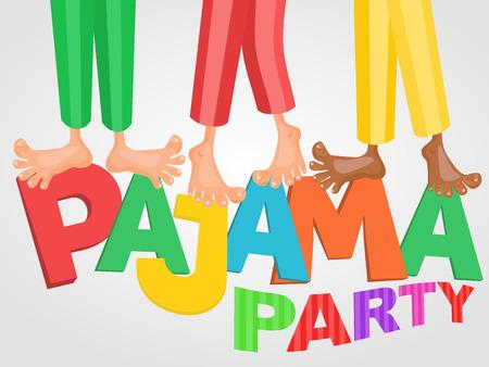 pijamada: Ilustración de tres niños que tienen fiesta de pijamas pijama