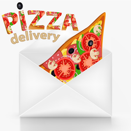 wite: Pizza delivery concept with wite envelope Illustration