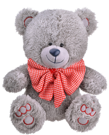 Grey furry teddy bear with red bow photo