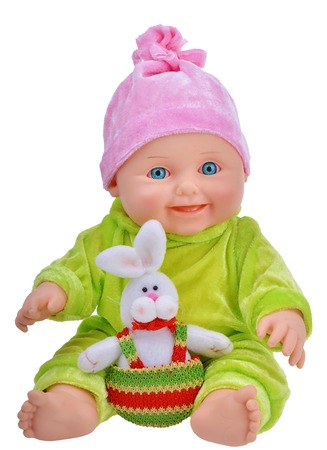 girl doll: Baby doll with easter rabbit