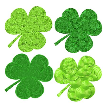 patrics: set of four stylized  clover leaves for design to saint patrics day Stock Photo
