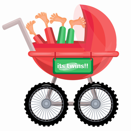 pyjama: Baby carriage. Its twins boys. Vector illustration