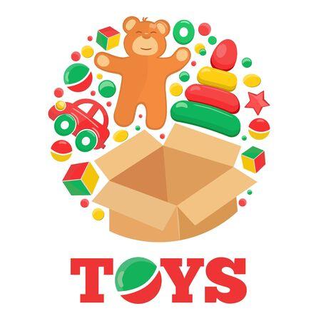 brown box: Rotonda logo con aperto scatola marrone orsacchiotto e giocattoli testo di esempio Vettoriali