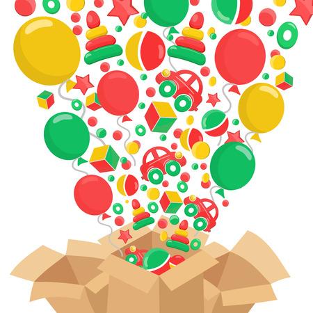 brown box: Composizione con scatola marrone e giocattoli. Concetto di vendita. Isolato su sfondo bianco