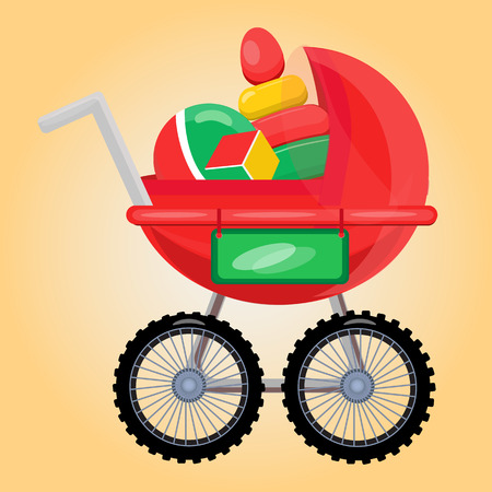 first birthday: Baby carriage with toys. Present for first birthday party