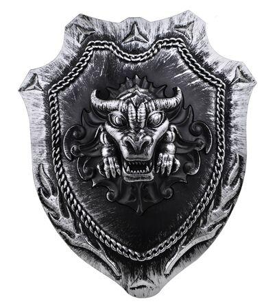 vikingo: Cabeza de dragón Escudo ingenio aislados sobre fondo blanco