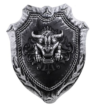 viking: Shield wit dragon head isolated on white background Stock Photo