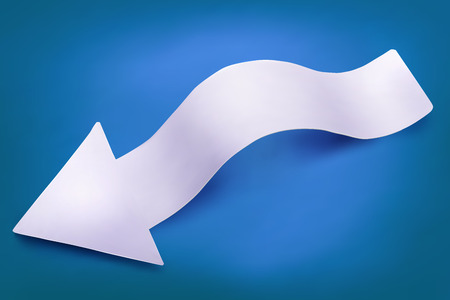 twist: Paper twisted realistic arrow with shadow. Vector eps 10 Illustration