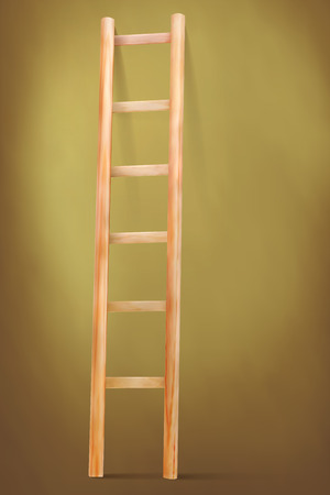 backstairs: Wooden ladder on vintage background