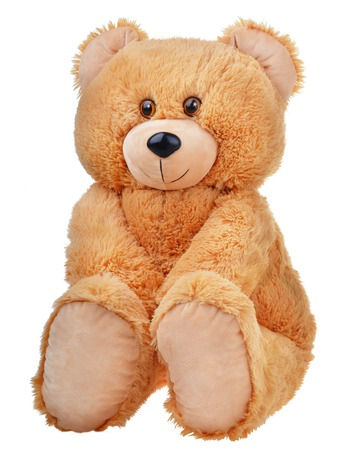 Sitting toy teddy bear isolated on white