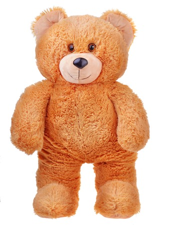 Walking toy teddy bear isolated on white background 스톡 콘텐츠