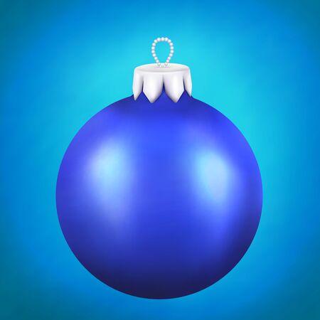 christmass: Cristal azul christmass realista bola en el fondo azul. Eps 10