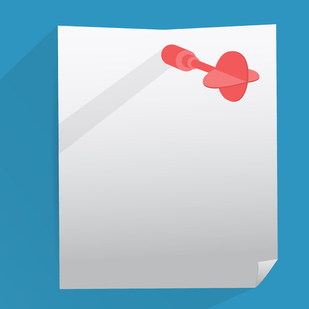 characteristic: Red darts with paper sheet flat design. Vector Illustration