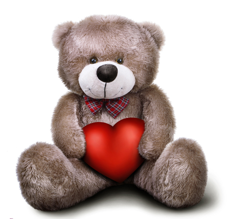 Toy soft teddy bear with valentine heart isolated over white background with shadow