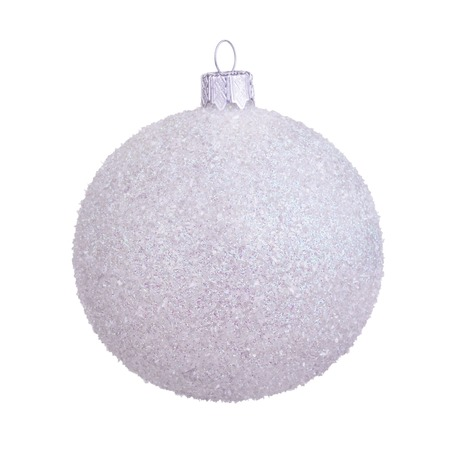 glass christmas tree ornament: White sugar christmas ball isolated over white background