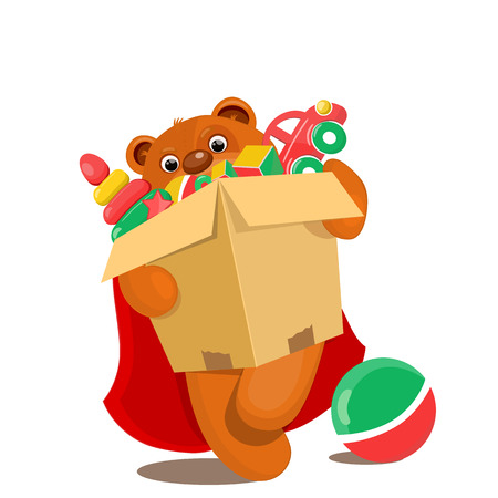 unpacking: Brown teddy bear with box full of toys. Vector illustration Illustration