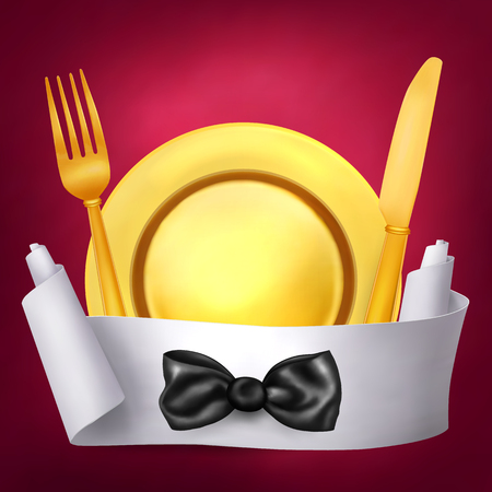 role: Golden fork knif and plate with paper role banner. Vector illustration Illustration