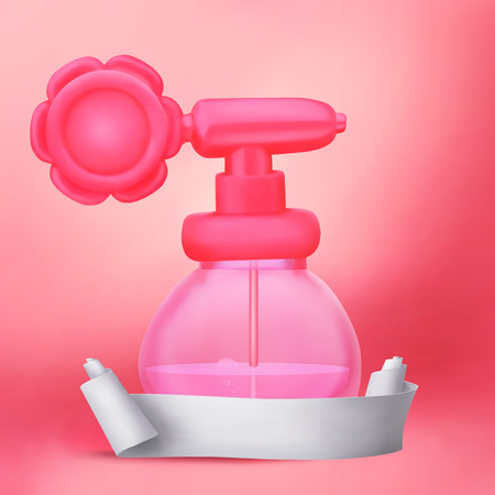 paper roll: Rose perfume bottle with paper roll banner Vector illustration
