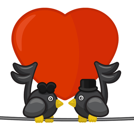 love song: Card with two notes birds singing love song, vector illustration