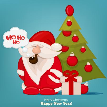 ho: Santa Claus with a bag smoking and saying ho ho ho. Vector Illustration