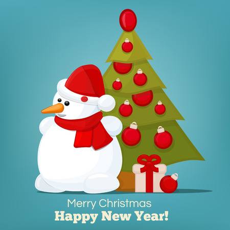 snow man: Snow man with christmas tree. Vector illustration