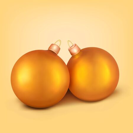 duet: Two realistic golden christmas spheres. Vector illustration