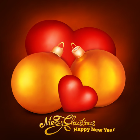 duet: Two realistic golden christmas spheres with two hearts. Romantic love concept Illustration