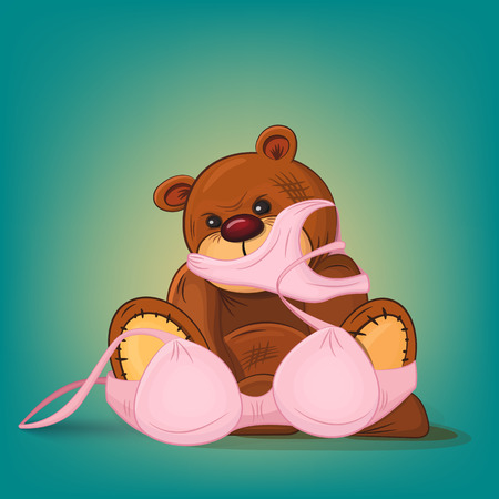 cartoon underwear: Sad teddy bear gift with pink underwear.