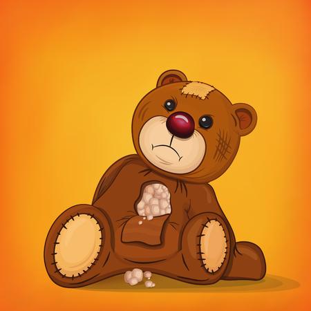 injured: Sad brown injured teddy bear.