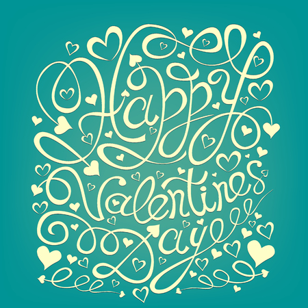 ve: Happy Valentines Day hand drawn lettering greeting card template. Ve Illustration